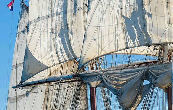 sailing on a traditional sailing ship brigg 'Morgenster'